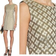 Diane Von Furstenberg 'CARRIE' TWO LAME JACQUARD METALLIC SHIFT DRESS sz 8