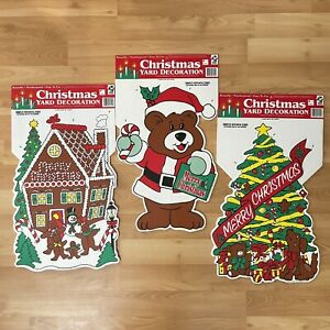 """Outdoor Merry Christmas Signs Yard Lawn Decor 1996 - 23"""" x 15"""" Lot of 3 Vintage"""