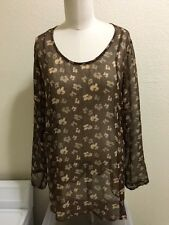 HARARI SHEER FLORAL PRINT SUMMERY CHIFFON TOP/TUNIC LONG SLEEVE BLOUSE SZ M/LG ?