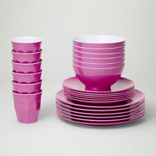 Barel Designs Classic Magenta Melamine 48 Piece Dinner Set - Cups, Bowls, Plates