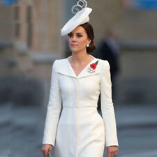 2018 Spring Kate Middleton Princess White Dress Solid Turn-Down Collar Dress