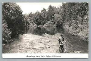 Trout Fly Fishing SISTER LAKES Michigan RPPC Vintage Photo Postcard 1940s