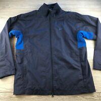 Nike Jacket Mens Size Medium Navy Blue Full Zip Lined Windbreaker Official
