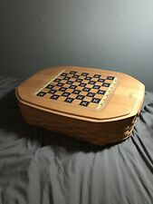 Longaberger Woodcrafts Game Basket w Chess and Backgammon Board Lid (No Pieces)