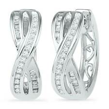 10k White Gold Womens Round Diamond Two Row Crossover Hoop Earrings 1/4 Cttw