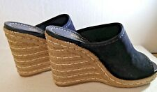 Womens Prada, Calzature Donna, Black Suede, Open Toe Espadrille, Size 39.5, Worn