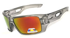 New Sport Mens Polarized Sunglasses - Crystal Black /Red Fire Flash Lens