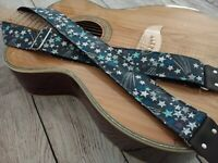 Guitar STRAP - Gray Stars Leather Ends Adjustable Custom Acoustic Electric Bass