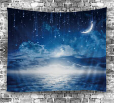"Moon Clouds Stars TAPESTRY 60x80"" Celestial Night Hanging Fabric Wall Decor Art"