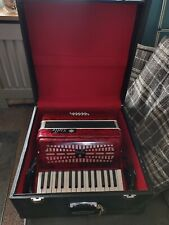 More details for stella red accordion with large wooden carry case