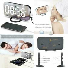 "Alarm Desk Clock 6.5"" Large Led Digital Mirror Dual Usb Port Charger Diming Mode"