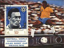 North Yemen block124 (complete issue) used 1970 Football-WM, Me
