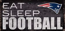 "New England Patriots Eat Sleep Football Wood Sign - NEW 12"" x 6"" Decoration Gift"