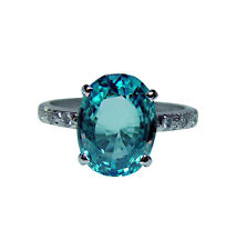 Vintage Platinum Diamond Natural Blue Zircon Ring 8.5ct Estate