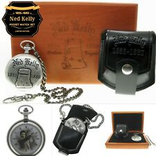 NED KELLY Memorial Silver Pocket Watch Men Gift Set Fob Chain + Pouch + Box C74