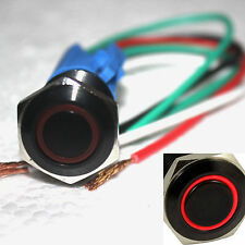 16mm Red Angel Eye 12V LED Momentary Push Button Switch & Socket Plug