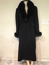 Women's Outerwear Winter black fox fur trim Wool blend long coat jacket size 10