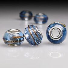 5pcs Fashion Blue Round Lampwork Glass Beads Fit European Bracelet Charm LB0093