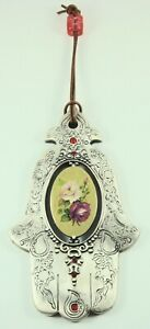 WALL HANGING CHAMSAH FLOWER DESIGN, MADE IN ISRAEL 6 INCHES L PEWTER