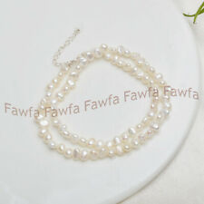 7-8mm Real White Freshwater Baroque Pearl Necklace 18 Inches Natural Fashion