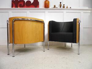 Designer THONET Leather Chrome bentply armchairs Iconic German chair designs