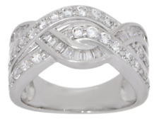 DIAMONIQUE 1.30CT ROUND & BAGUETTE STERLING CROSSOVER RING SIZE 5 QVC SOLDOUT