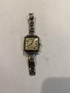Waltham Sapphire 14k White Gold Fill Art Deco Wrist Watch Orig Lumen Hands Runs