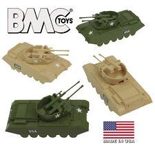 BMC Payton Recast Anti-Aircraft Tank 4pc Tan Green Plastic Army Men Vehicles