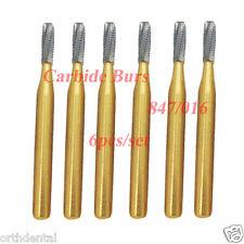 6 Pcs Finishing&Trimming Transmetal Cylinder Gold Carbide Burs FG 847/016 23mm