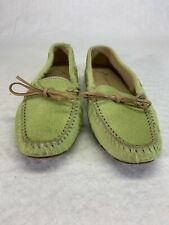 Antonio Bossi Calf Hair Driving Mocs Loafers Sz 7.5 Light Green Made In Italy