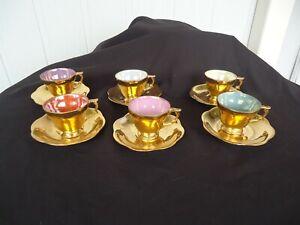 vintage harlequin joy england 22k gold coffee set 6 cup & saucers