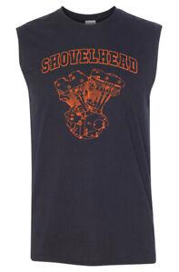 SHOVELHEAD Orange Engine SLEEVELESS T-shirt - Harley Biker Sturgis
