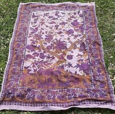 (2D2) vtg Purple Tree of Life American Woven Decor Tapestry Wallhanging India
