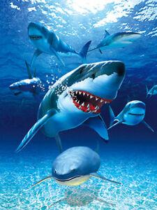 SHARKS ATTACK - 3D LENTICULAR SHARK PICTURE 300mm X 400mm (NEW)