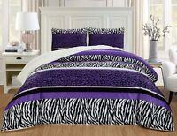 2Pc Twin Dark Purple Black Animal Print Safari Micro Fur Sherpa Comforter Set