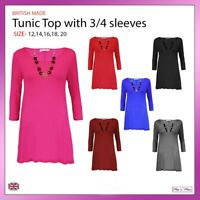 New Ladies Women 3/4 Sleeves Plain Tunic Top Casual Formal Necklace Sizes 12-20