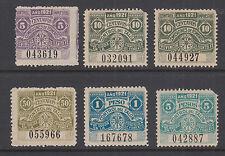 Argentina, Santa Fé, mint 1921 Comision de Fomento, 6 diff Fiscals w/ perf fault