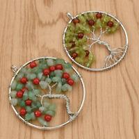 Women Elegant Tree Of Life Wire Wrap Peridot Stone Pendant Beads DIY Necklace