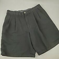 Ping Mens black pleated shorts Size 34 front and back pockets Black tonal Stripe