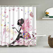 Smile Flower Girl Butterfly Anti Water Bathroom Shower Curtain Accessories Hooks