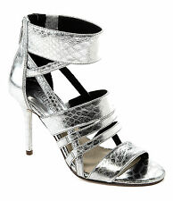 Michael Kors Shiloh Open Toe Metallic Embossed Leather, Silver, Size US 8 M,