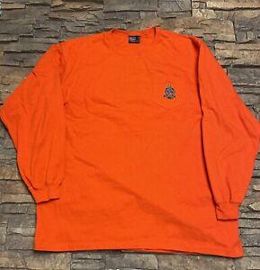 Mens Polo Ralph Lauren Long Sleeve T Shirt Sz L Crown Crest Orange
