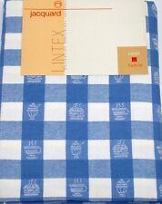 "Lintex Tablecloth ~ Blue and White Jacquard Diner ~ 60"" x 84"" Oval **NEW**"