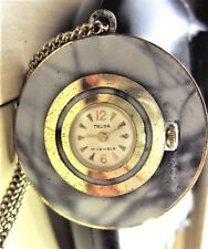 Ladies Swiss Gold Plated Painted Truxa 17J Mechanical Necklace Watch + Chain