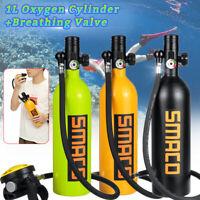 1L Scuba Oxygen Diving Equipement Cylinder Air Tank Underwater Breathing Valve