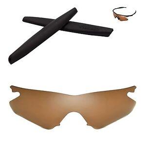 Walleva Polarized Brown Replacement+Black Earsocks for Oakley M Frame Heater