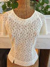 Vintage Classic 50's Ivory Lace Blouse Top Fitted Short Sleeve S
