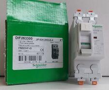 SCHNEIDER 63 A 300 mA doble POLOS RCCB RCD DIF263300 residual Disyuntor Fusible