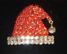 Santa Hut Anstecknadel goldfarben NEU Kristall rot weiß Weihnachten Urlaub