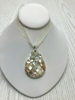 Vintage Karis Pendant Necklace Genuine Mother of Pearl Shell Abalone on Ribbon